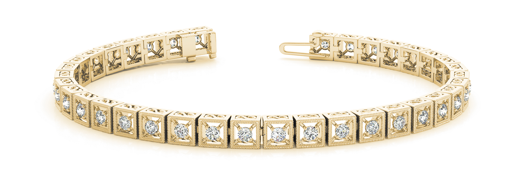 1.08 Carat Round Diamond Square Filigree Yellow Gold Bracelet