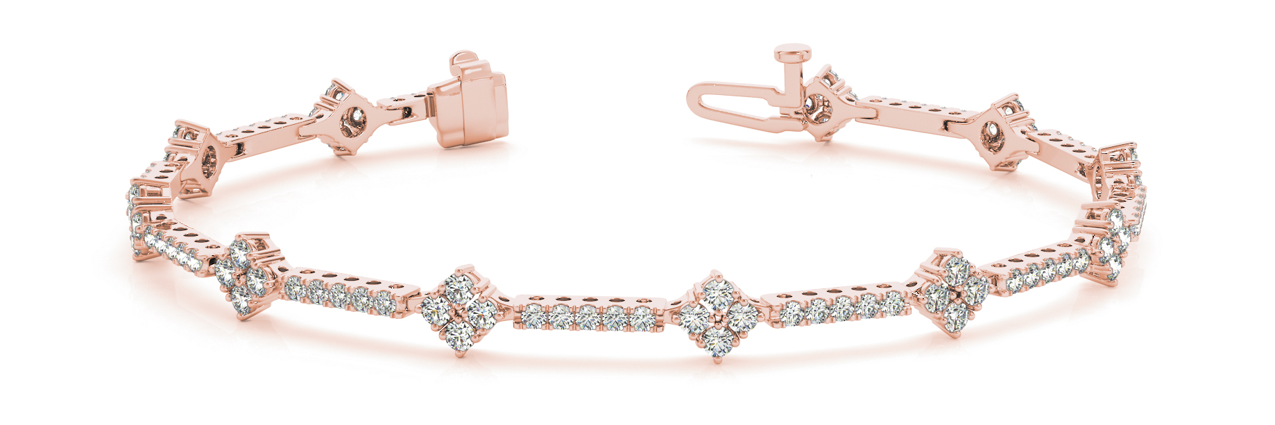 1.29 Carat Round Diamond Quad Bracelet Rose Gold