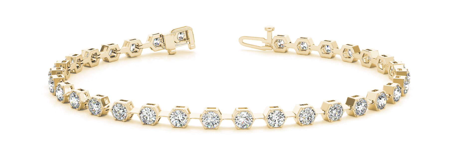 1.6 Carat Round Diamond Hexagon Yellow Gold Bracelet