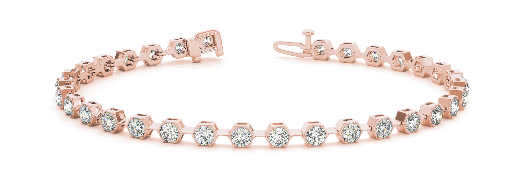 1.6 Carat Round Diamond Hexagon Rose Gold Bracelet