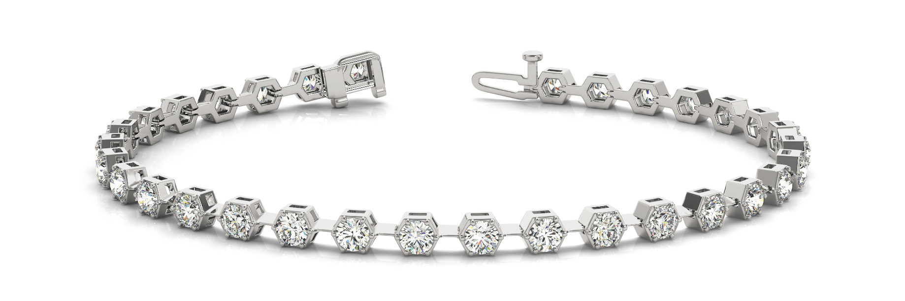 1.6 Carat Round Diamond Hexagon Bracelet