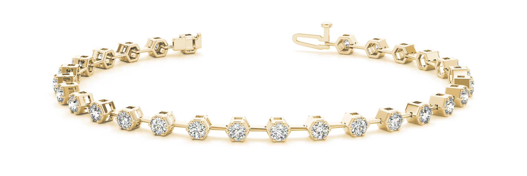 2.52 Carat Round Diamond Hexagon Yellow Gold Bracelet