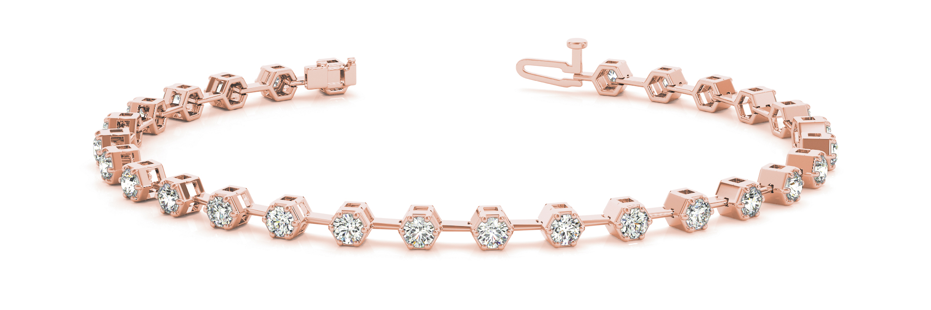 2.52 Carat Round Diamond Hexagon Rose Gold Bracelet