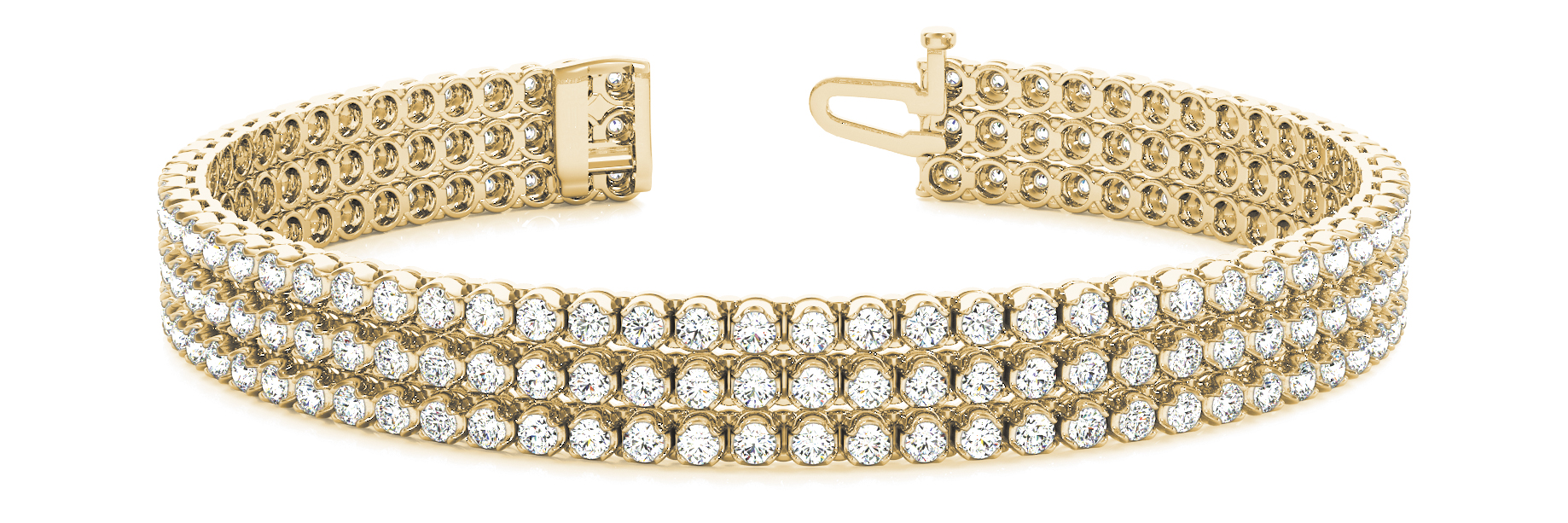 Three Row Round Diamond Yellow Gold Bracelet 3.7 Ct.