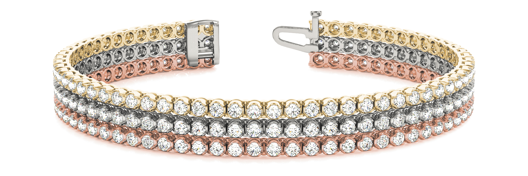 Multi Row Round Diamond Tri Colored Bracelet 3.7 Ct.