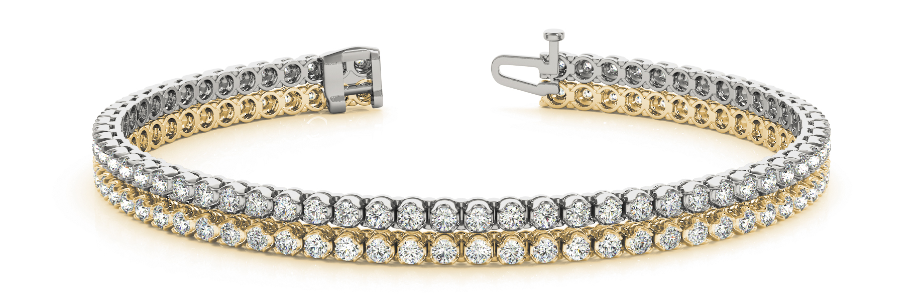 Multi Row Duo Round Diamond Bracelet 1.86 Ct. Yellow and White Gold