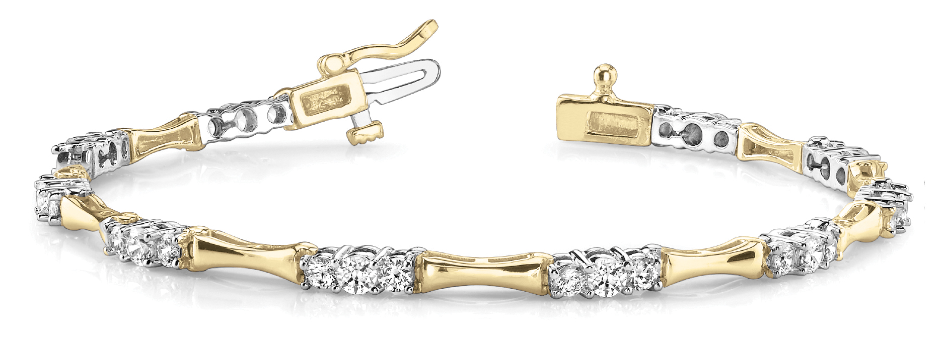 Three Stone Bar Link Bracelet 2 ct. Yellow & White Gold