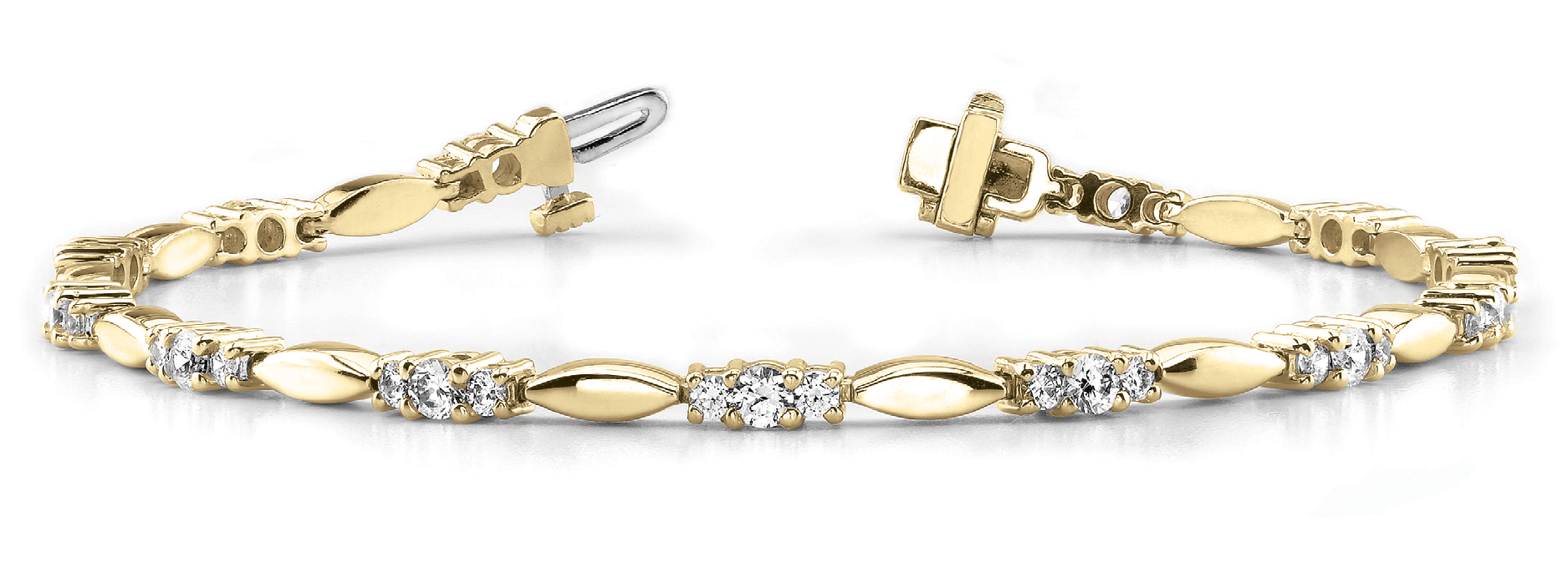 Three Stone Bar Link Bracelet 2.05 ct. Yellow Gold
