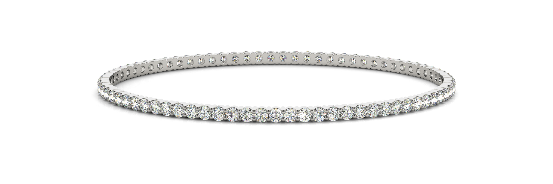 1.14 Carat Round Diamond Eternity Bangle in White Gold