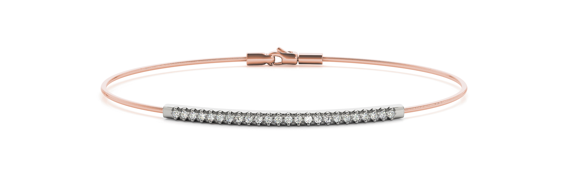 Petite Diamond Bracelet with Filigree  in Rose & White Gold