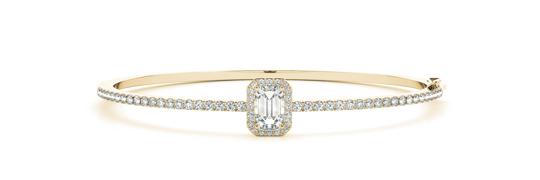 Emerald Diamond Center Stone Halo Bangle Yellow Gold