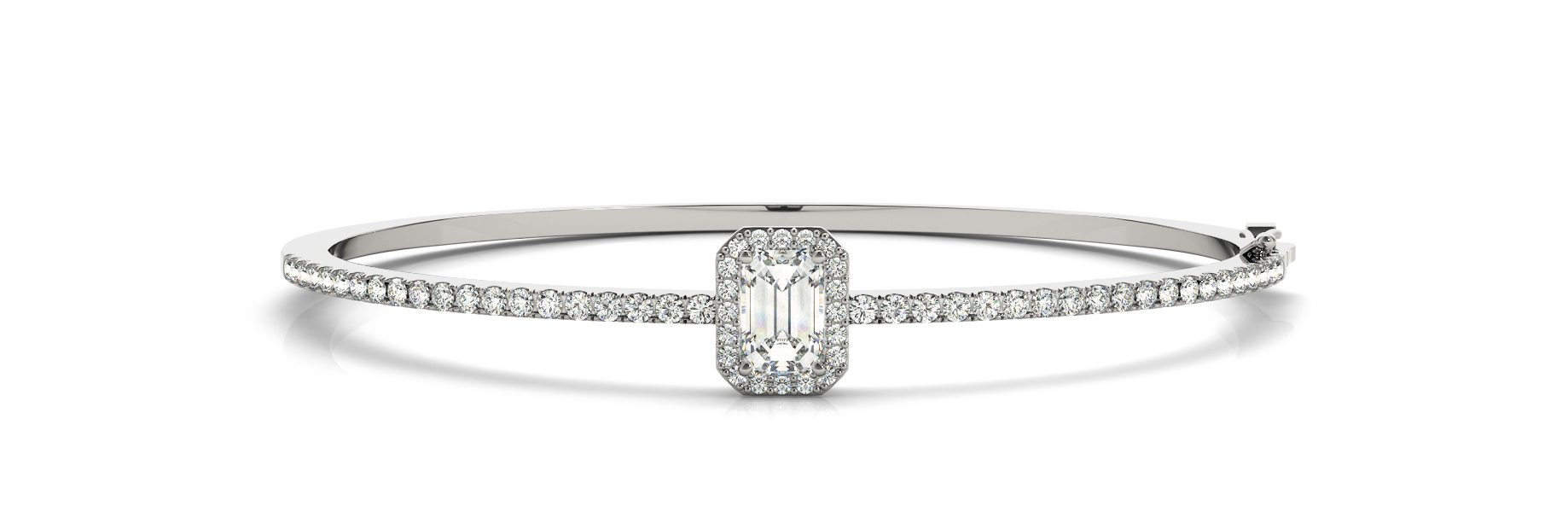 Emerald & Round Diamond Center Stone Halo Bangle