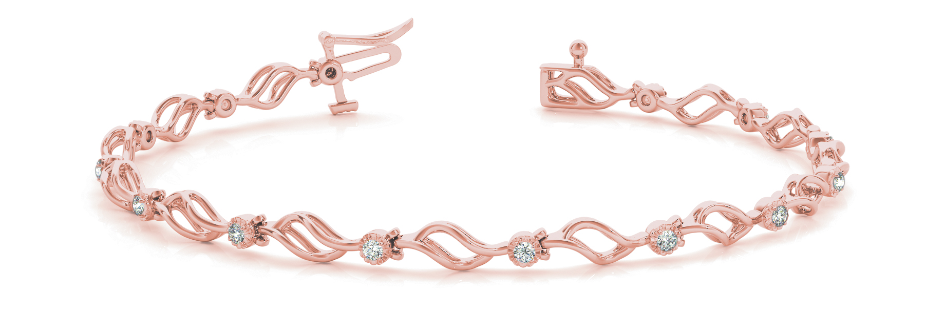 Flowing Leaves Round Diamond 0.21 Carat Rose Gold Bracelet