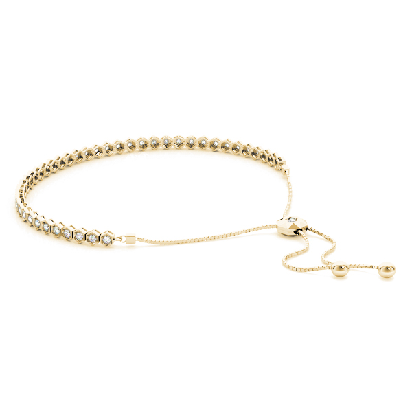 Hexagon Diamond Adjustable Bracelet in Yellow Gold