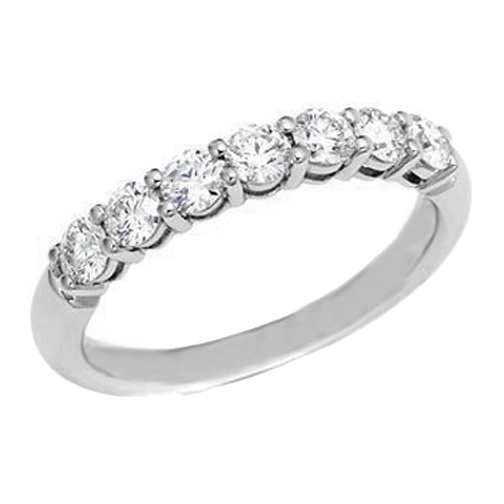 Seven Stone Round Diamond Wedding Band 028 tcw In 14K White Gold 55178