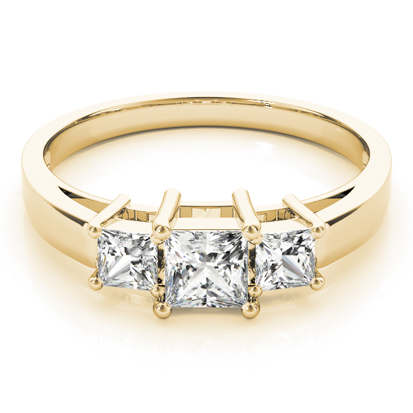 Classic Three Stone Princess Cut Diamond Engagement or Anniversary Ring in Yellow Gold