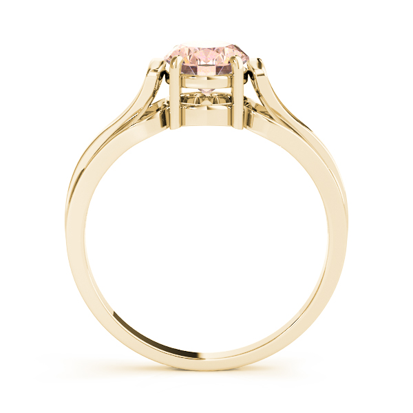 Solitaire Oval Peach Morganite Ring Yellow Gold