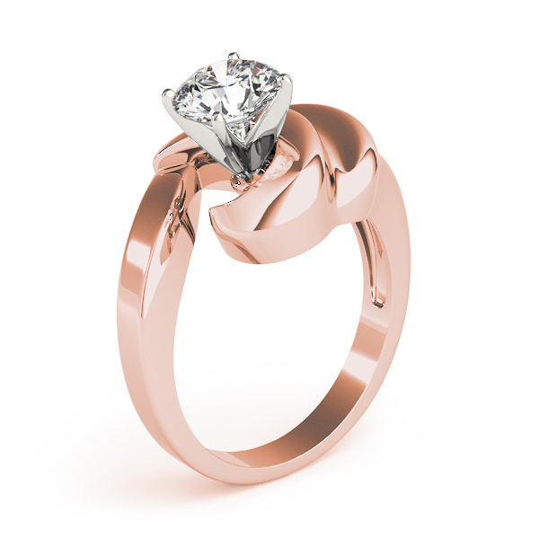 Solitaire Swirl Engagement Ring in Rose Gold