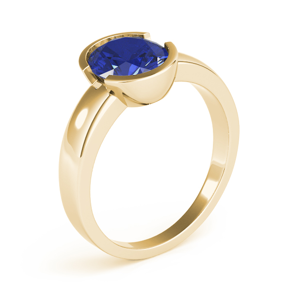 Bezel Oval Sapphire Ring Yellow Gold