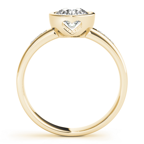 Petite Bezel Diamond Engagement Ring with Filigree in Yellow Gold