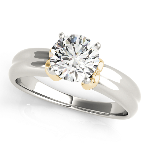 Concave Solitaire Engagement Ring in Two-Tone
