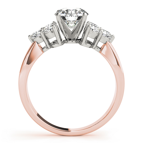 Trio Diamond Engagement Ring in Rose Gold