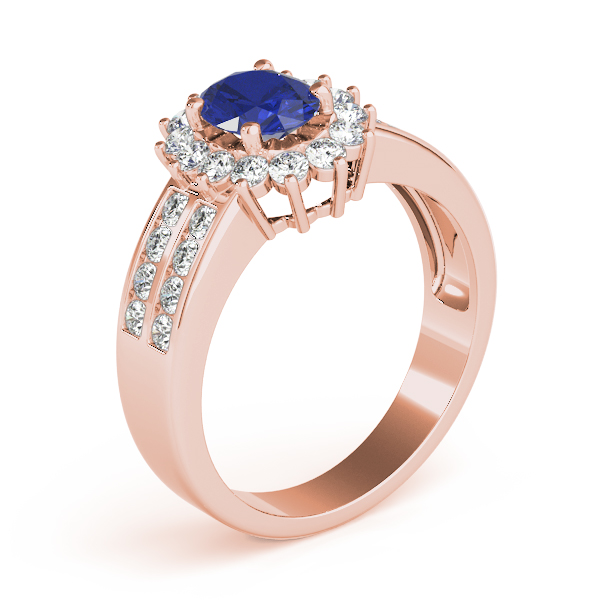Blue Oval Diamond Ring Rose Gold