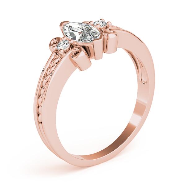 3 Stone Marquise Rope Filigree Ring Rose Gold