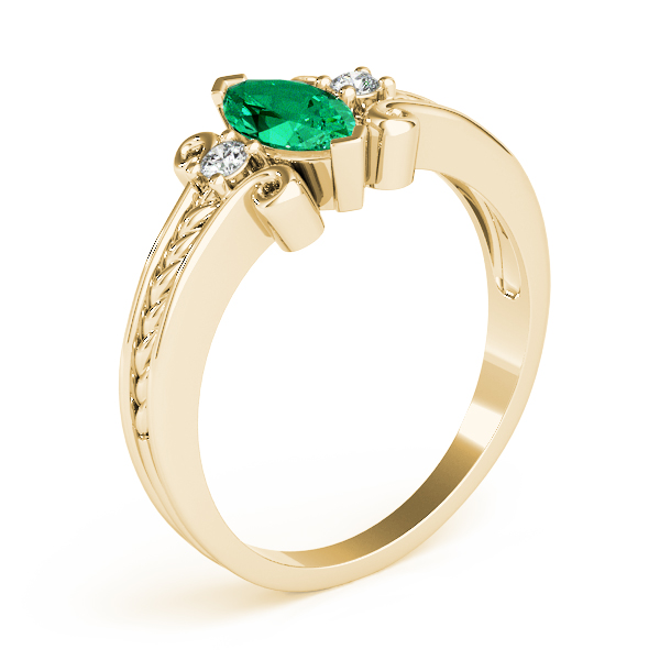 3 Stone Marquise Green Emerald Rope Ring Yellow Gold