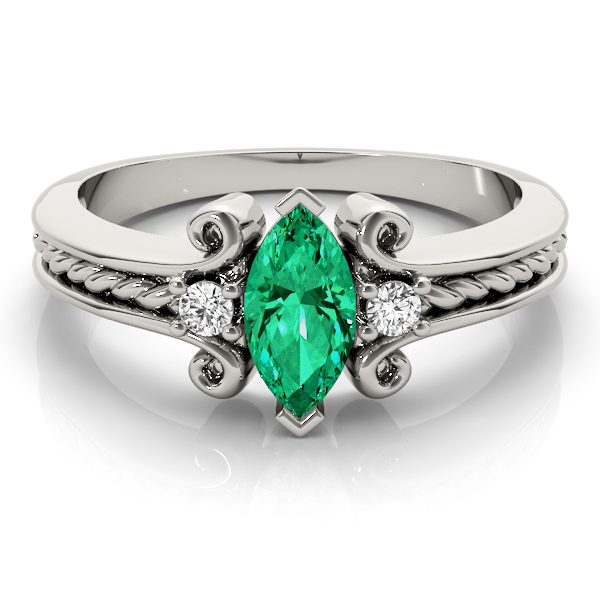 3 Stone Marquise Green Emerald Rope Ring