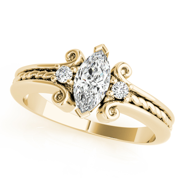 3 Stone Marquise Rope Filigree Ring Yellow Gold