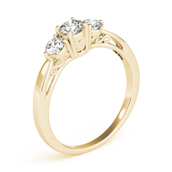 Classic Three Stone Diamond Engagement Ring with Filigree