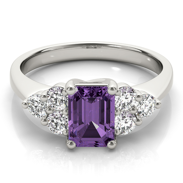 Emerald Amethyst Diamond Ring