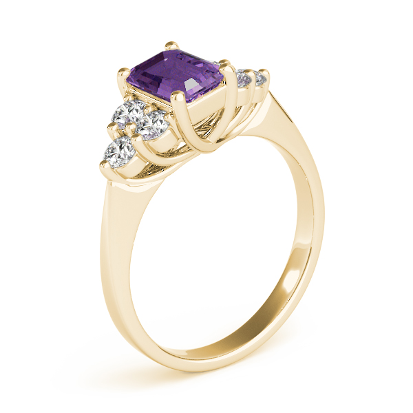 Emerald Amethyst Diamond Ring Yellow Gold