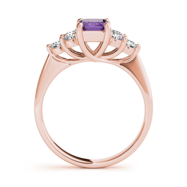 Emerald Amethyst Diamond Ring Rose Gold
