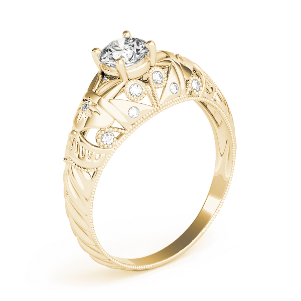 Vintage Diamond Engagement Ring with Filigree in Yellow Gold
