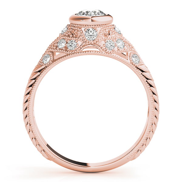 Vintage Bezel Diamond Engagement Ring, Engraved Band in Rose Gold