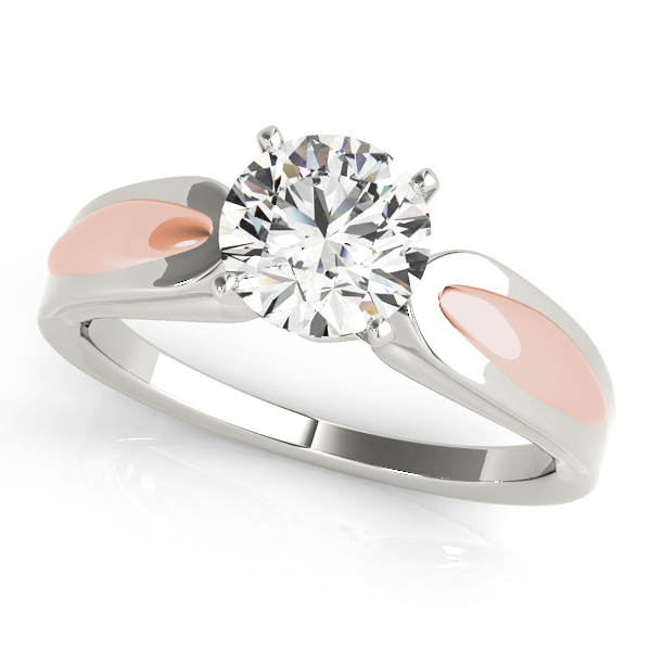 Solitaire Contour Engagement Ring in White & Rose Gold