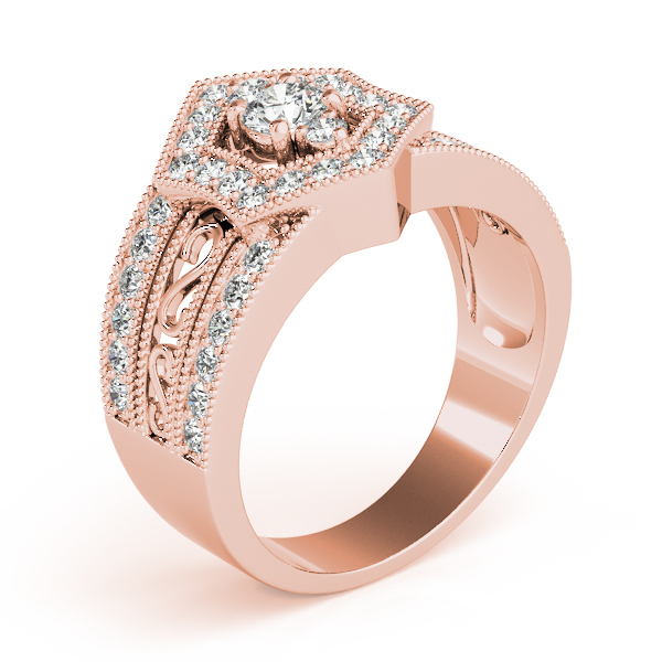 Hexagon Halo Three Stone Ring Rose Gold