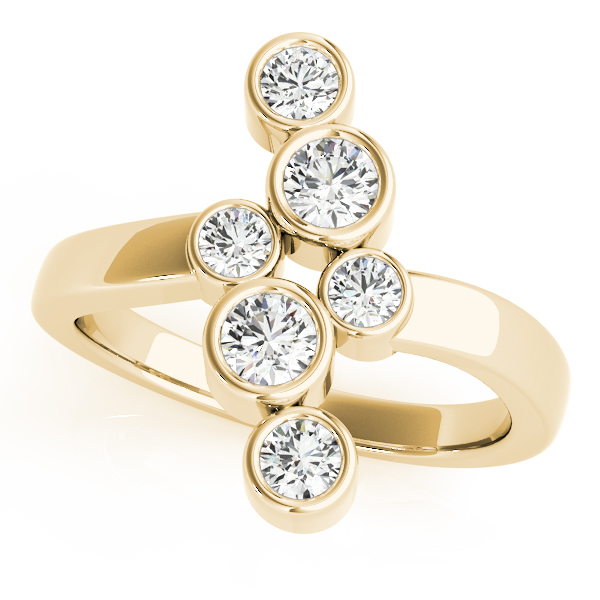 Bezel Diamond Swirl Ring Yellow Gold