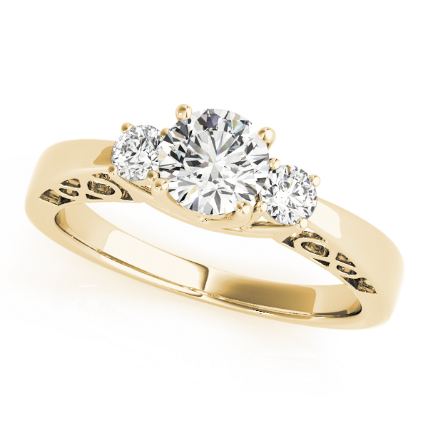 Three Stone Diamond Engagement Ring, Infinity Filigree Design in Yellow Gold