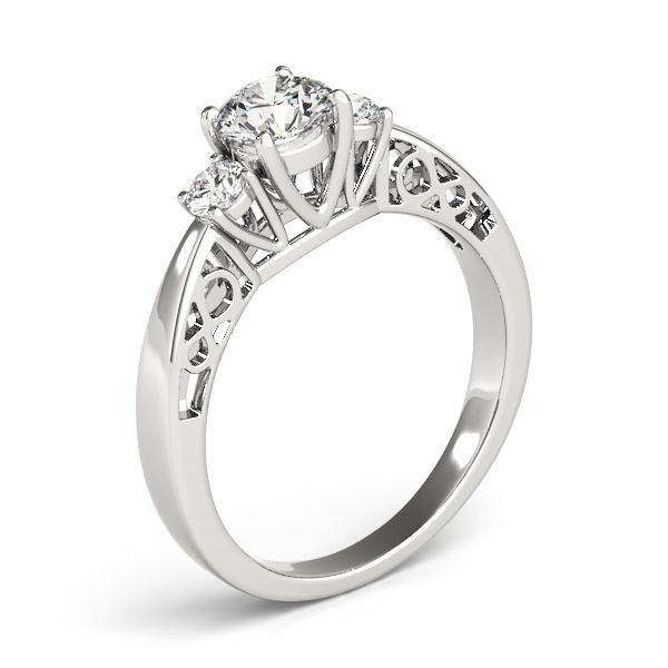Three Stone Diamond Engagement Ring, Infinity Filigree Design