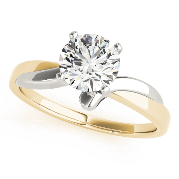 Twisted Solitaire Engagement Ring in White & Yellow Gold