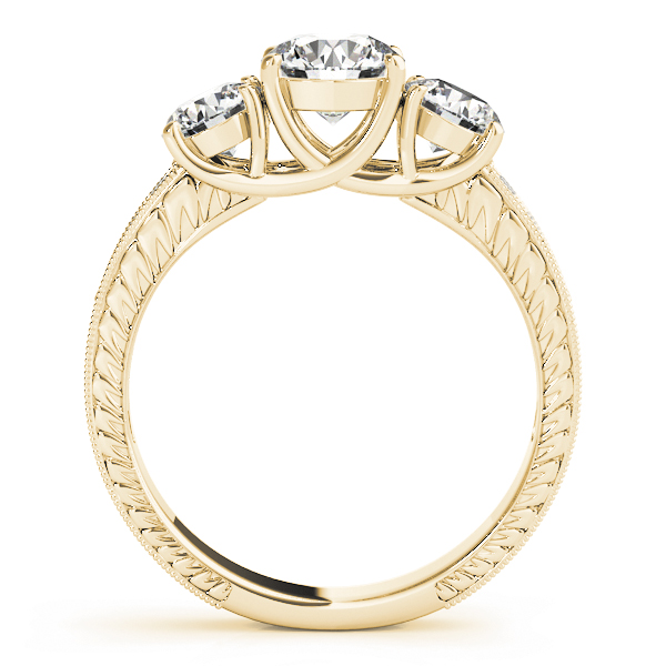 Three Stone Vintage Diamond Engagement Ring, Anniversary Ring in Yellow Gold