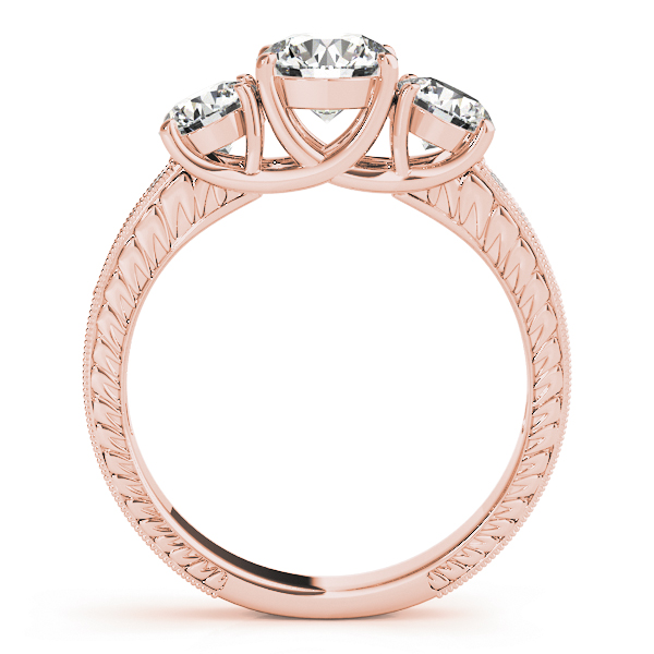 Three Stone Vintage Diamond Bridal Set, Anniversary Ring in Rose Gold