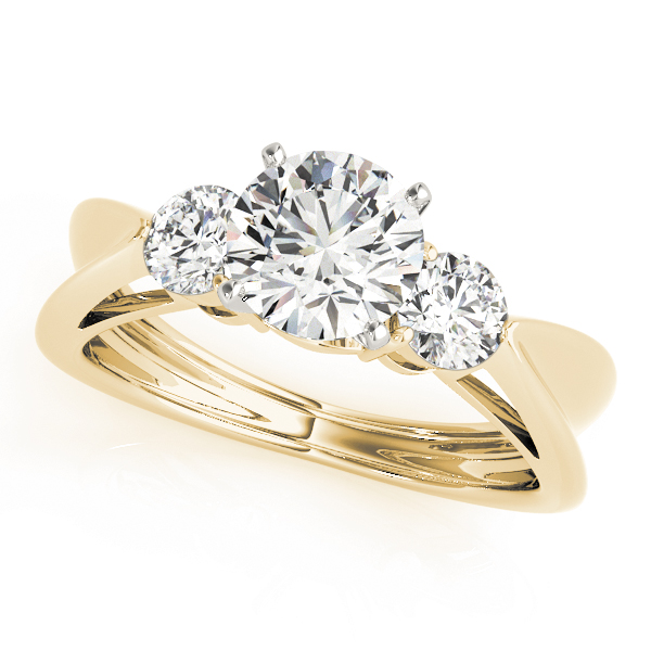 Three Stone Diamond Concaved Band Engagement Ring in Yellow Gold