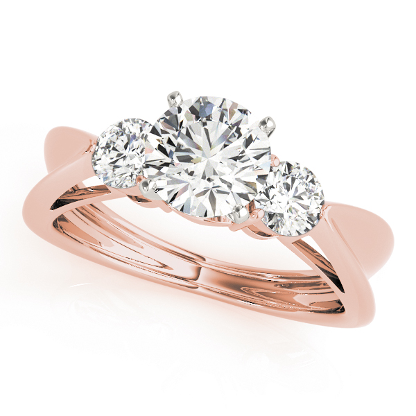 Three Stone Diamond Concaved Band Engagement Ring in Rose Gold