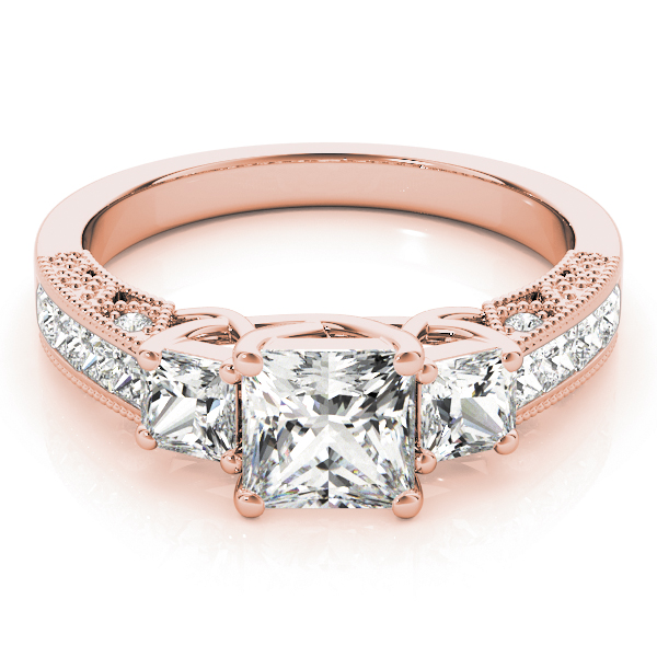 Three Stone Vintage Princess Diamond Engagement Ring, Anniversary Ring in Rose Gold
