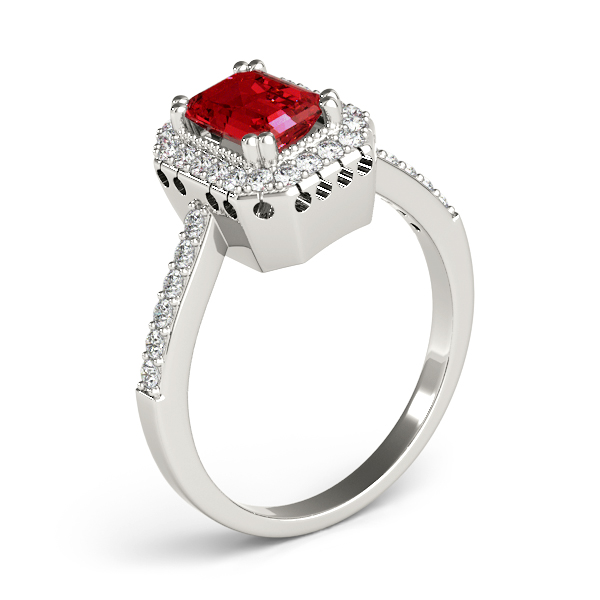 Vintage Emerald Ruby Halo Diamond Ring