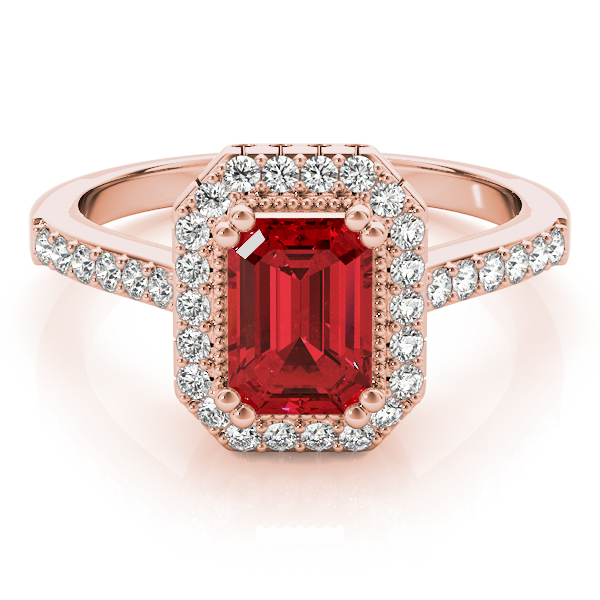 Emerald Ruby Halo Diamond Ring Rose Gold